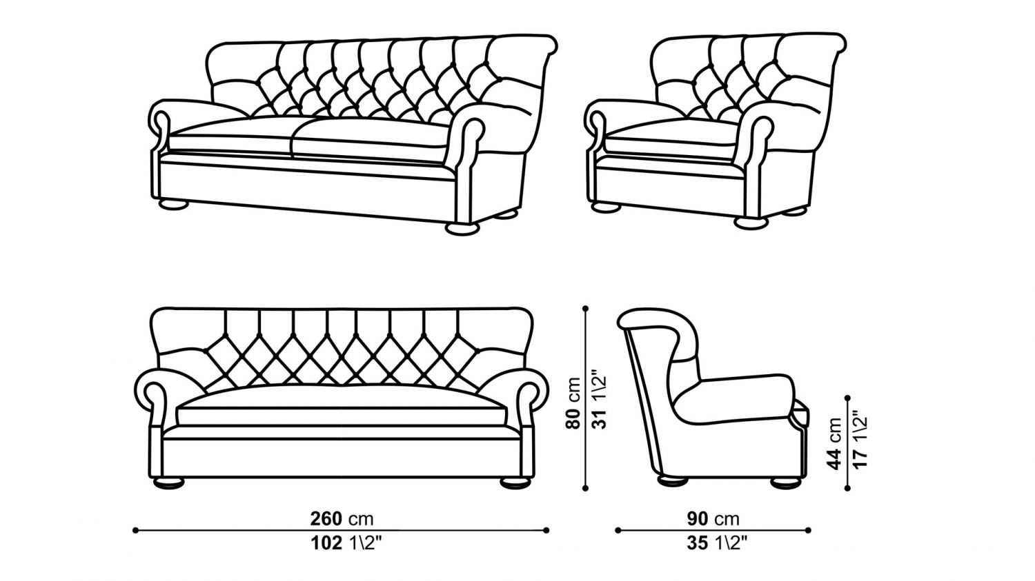 3D Wireframe Modeling for Sofa and Armchair