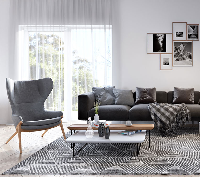 Chic Black and Gray Furniture 3D Render