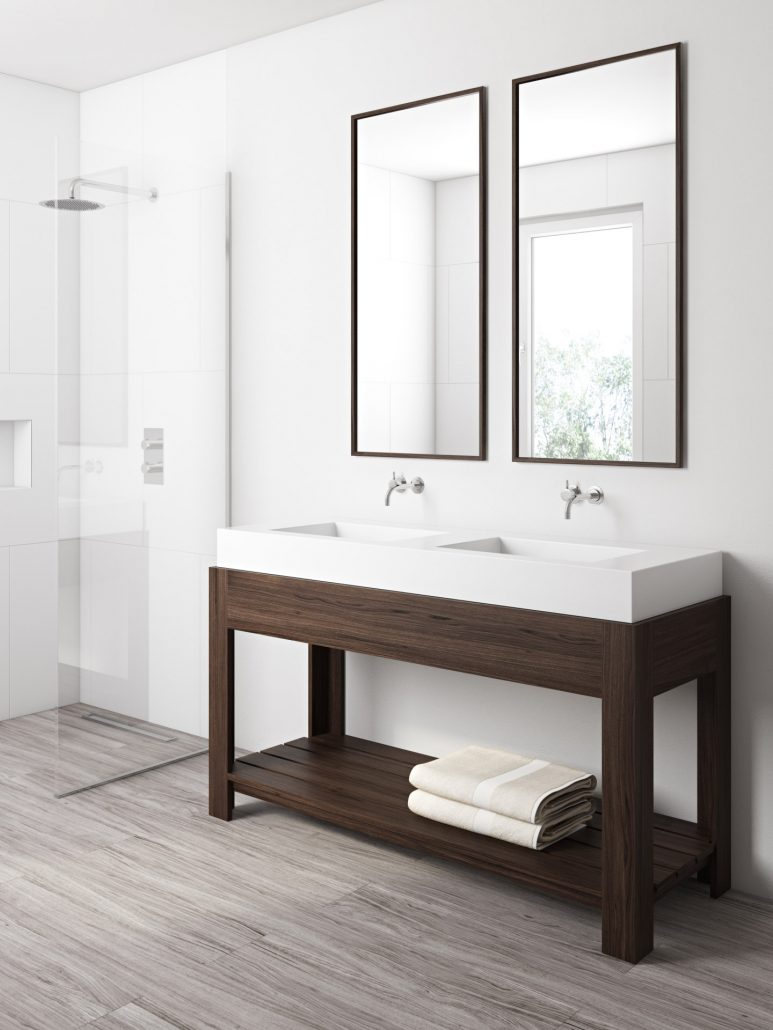 Product CGI for Concrete Sink in a Bathroom Scene