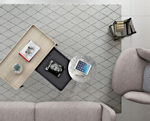 Furniture Catalog 3D Rendering with Coffee Tables in a Modern Interior