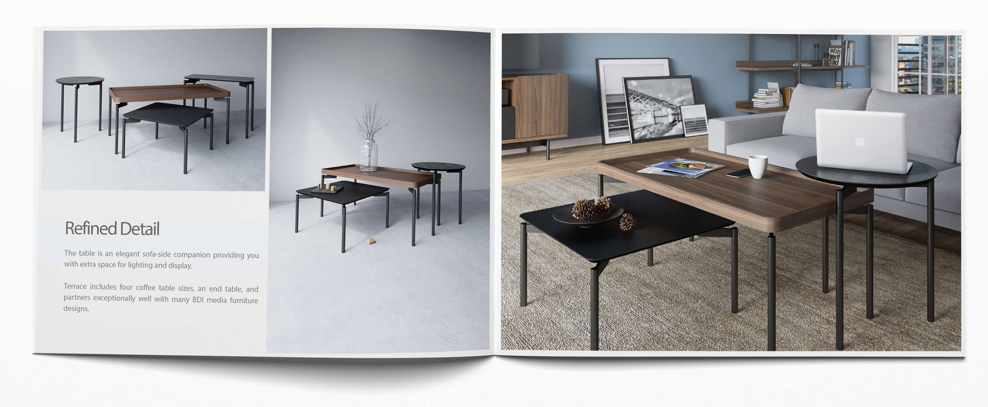 Furniture Catalog Spread with 3D Lifestyles and Product CGI