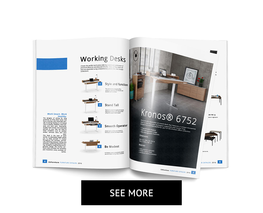 Desk 3D Visualizations in a Furniture Design Catalog