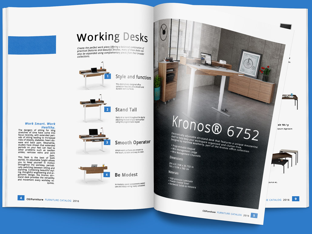 CGI Lifestyle for Working Desks in a Producrt Catalog