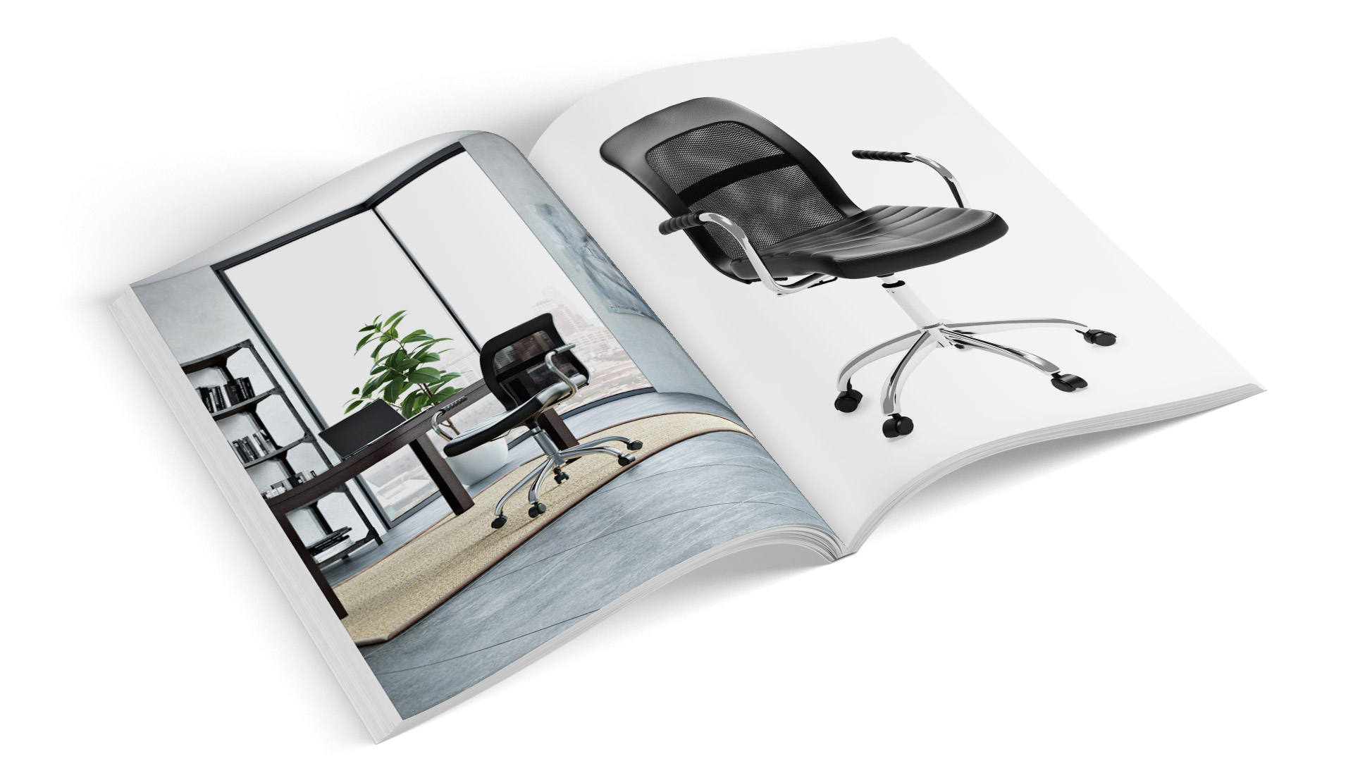 Chair 3D Renderings in a Print Catalog Spread
