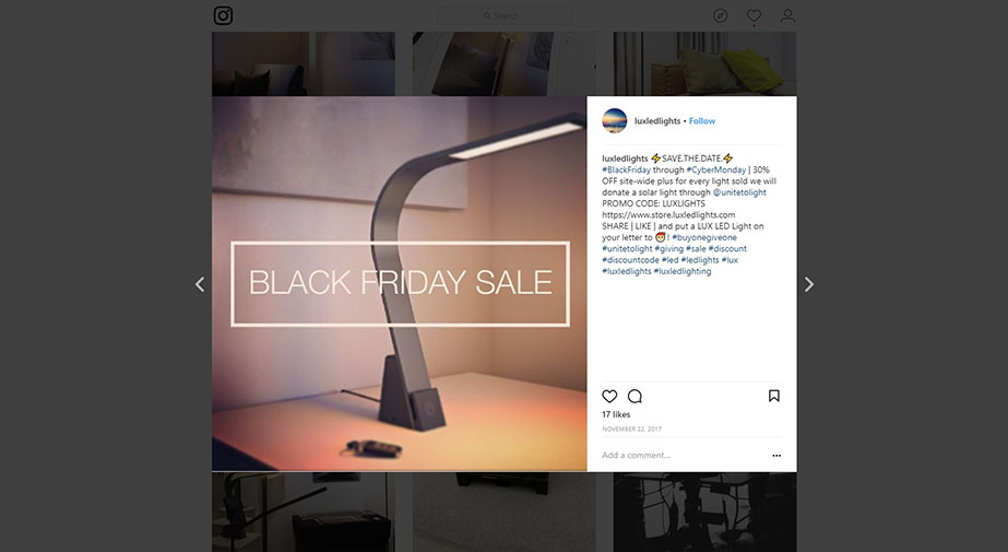 Product Image for the Lamp in Black used for Facebook