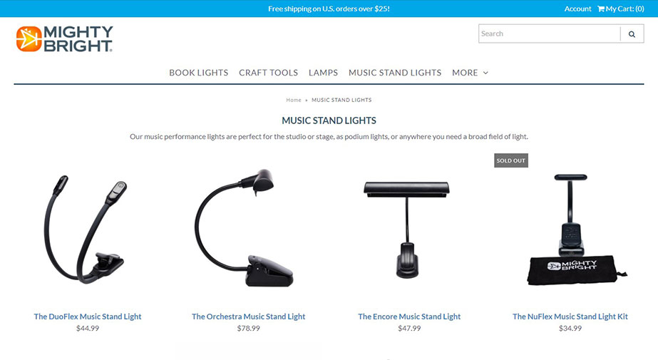 Music Stand Lights Potfolio Renders on the Product Website