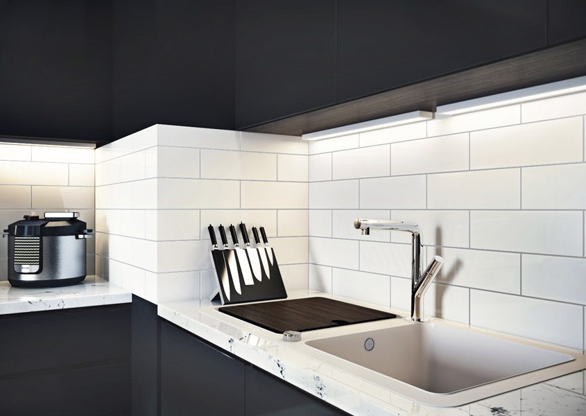 Lifestyle 3D Visualization Showing Subway Tile Design