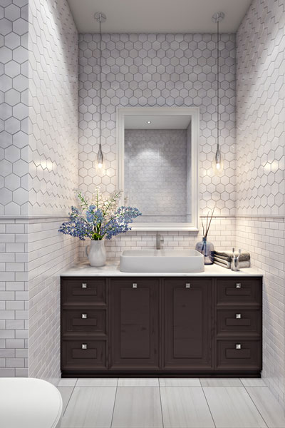 White Mosaic Lifestyle Render