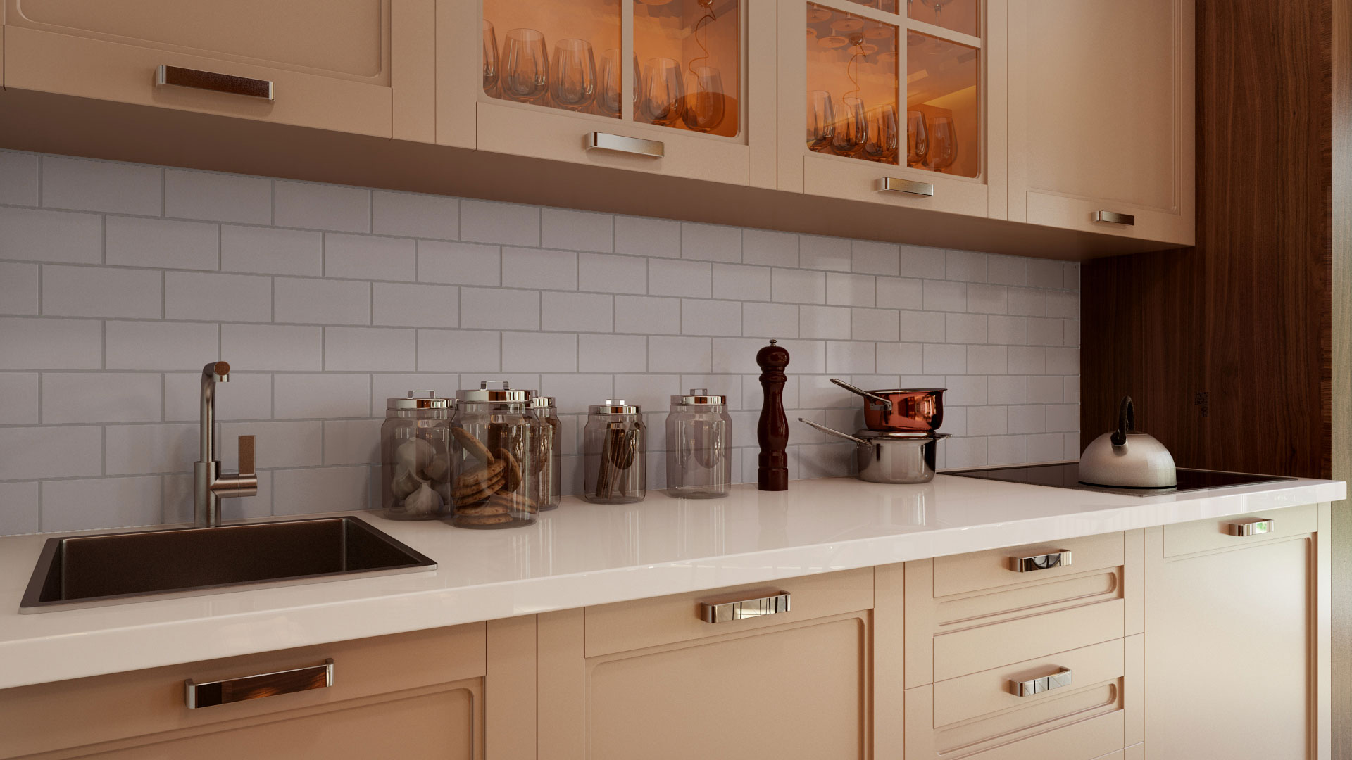 Photorealistic 3D Lifestyle Rendering for a White Backsplash