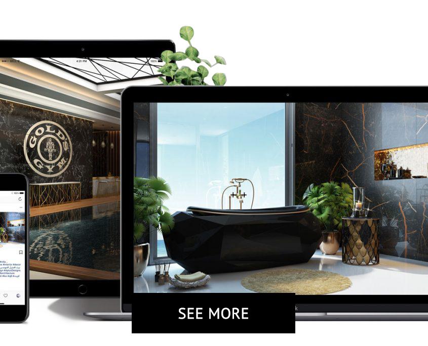 Bathroom 3D Renders on Screens for a Design Presentation