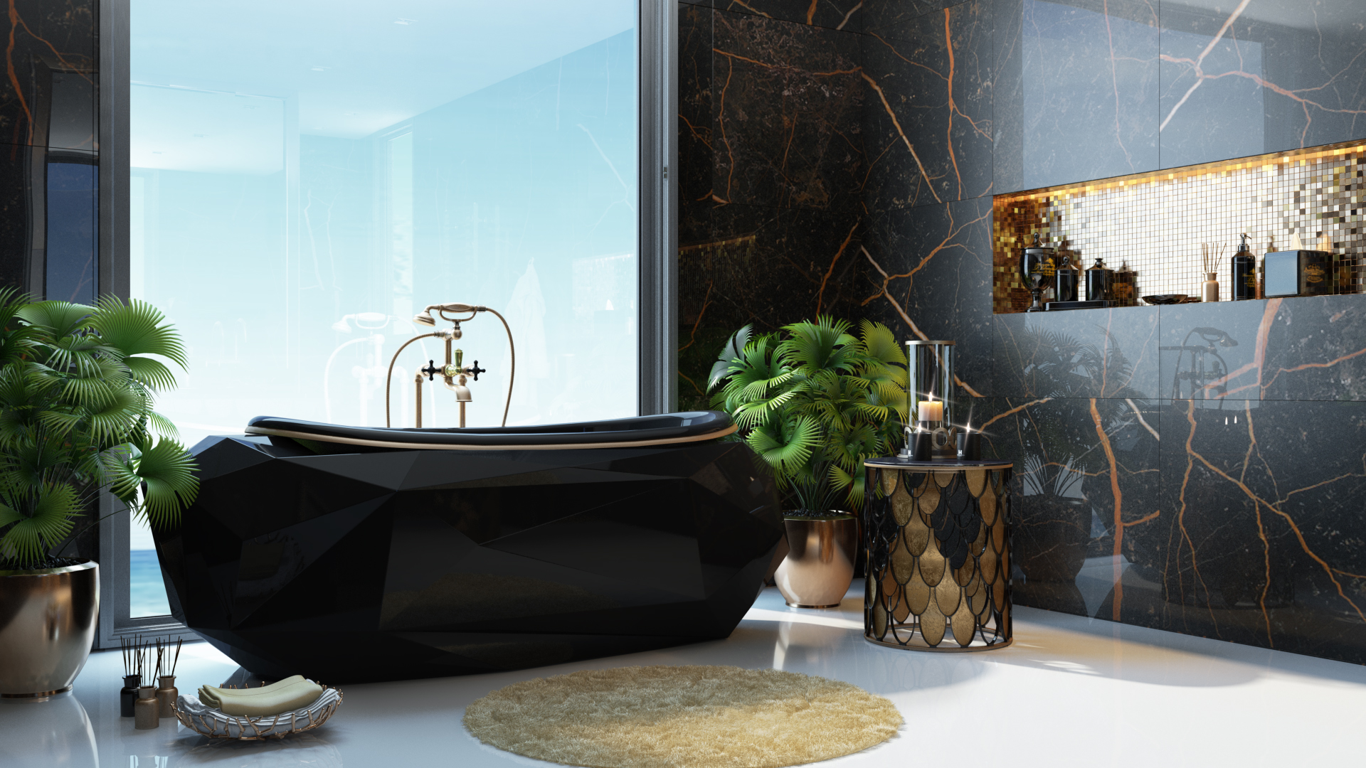 3D Render for an Edgy Bathroom Design