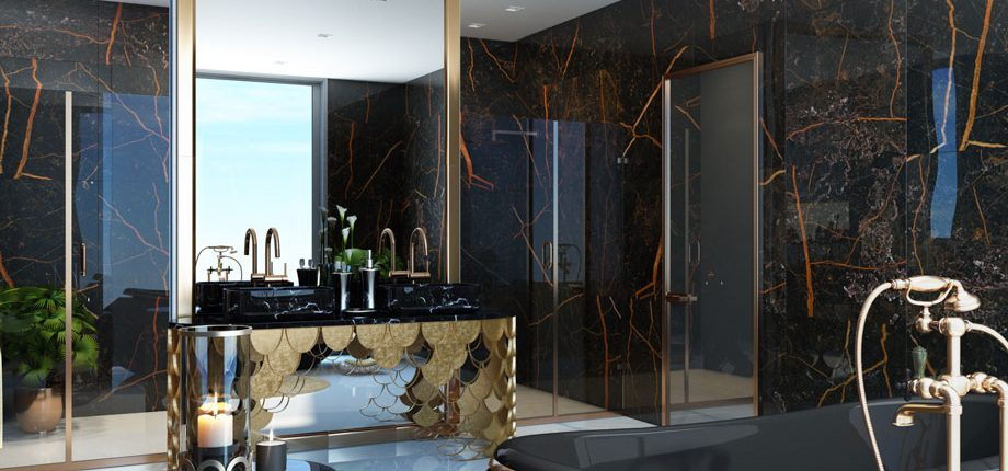 Shiny Black Bathroom Design CGI