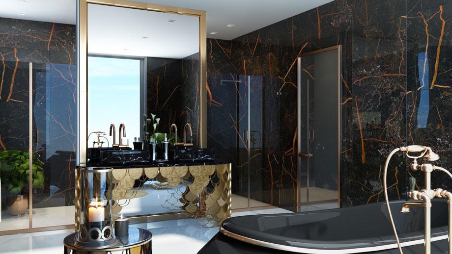 Shiny Black Bathroom Design CGI