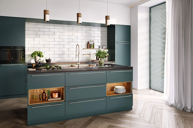 Green Kitchen Furniture 3D Rendering