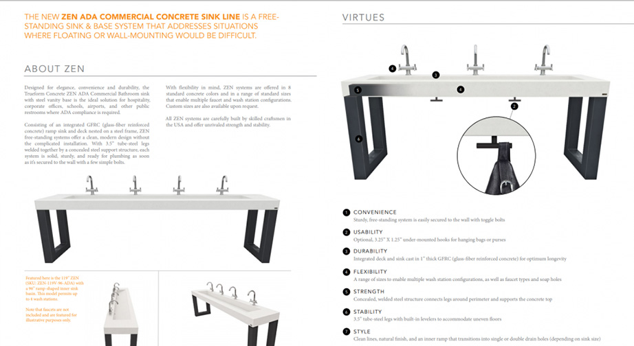Elegant Sink Product Sheet for Outstanding Marketing Collateral