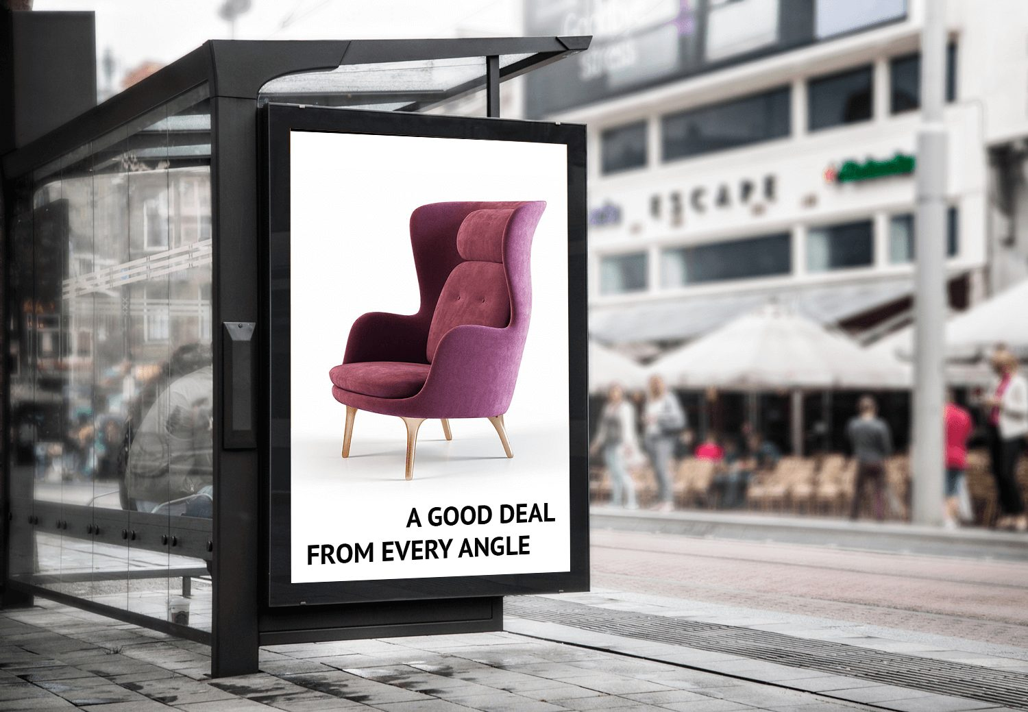 Pink Chair Advertisement on a Banner Marketing Collateral