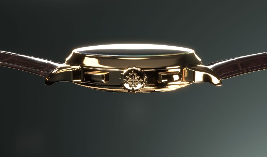 The Side View for a Watch 3D Rendering Project
