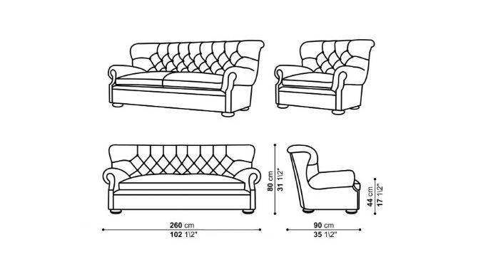 Wireframe Model Drawing for Cushioned Furniture