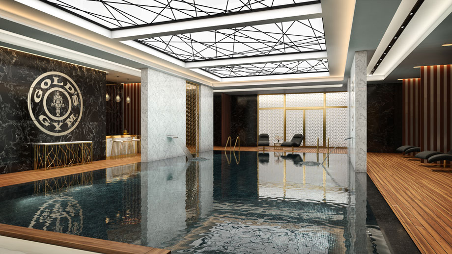 Photorealistic Lifestyle Image for a Luxurious Gym Pool