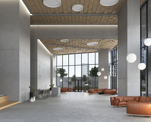 Office Lobby Soundproofing System Rendering