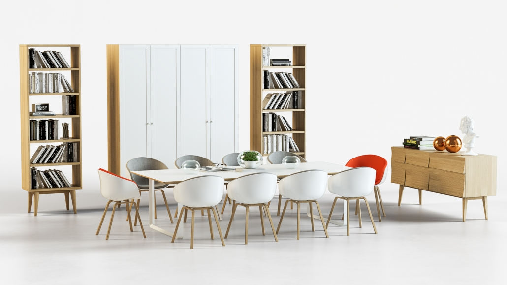 3D Visualization for Dining Room Furniture on the White Background