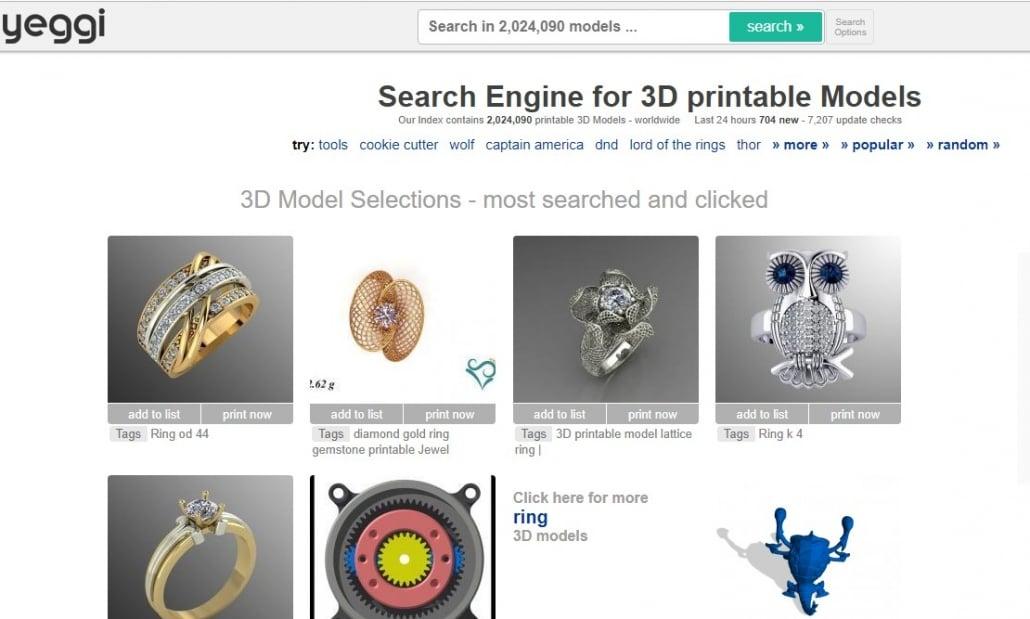 Yeggi: 3D Models for 3D Printing