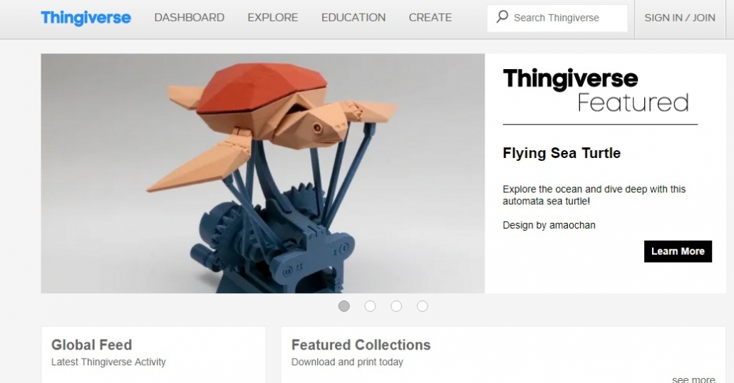 Thingiverse: a 3D Modeling Website