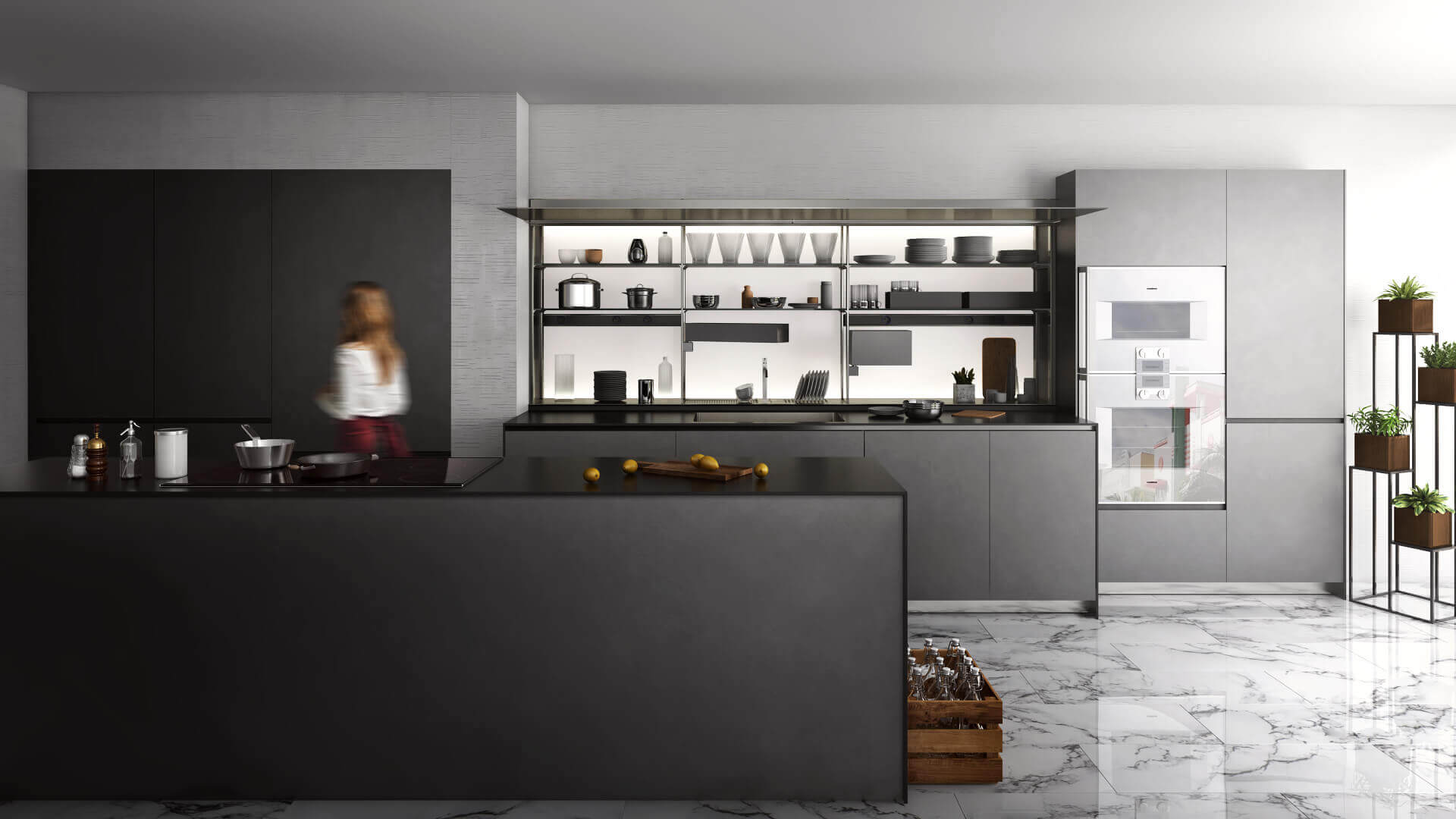3D Product Rendering for a Black Kitchen