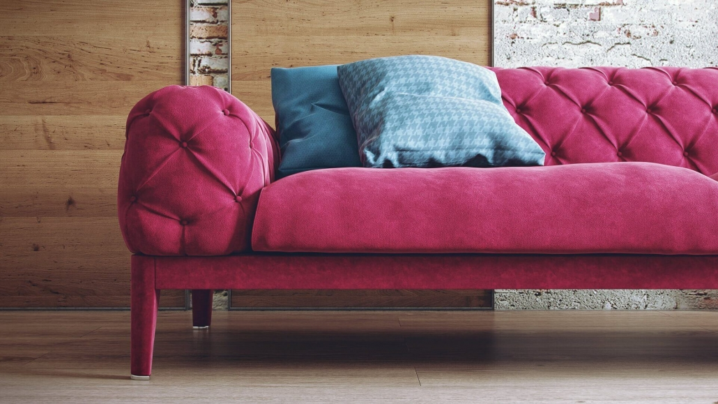 Pink Sofa 3D Rendering Close-Up View