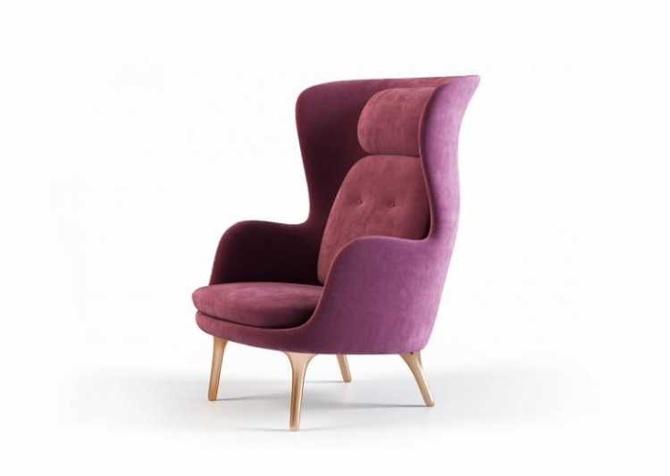 White Background Shot of a Modern Wingback Armchair