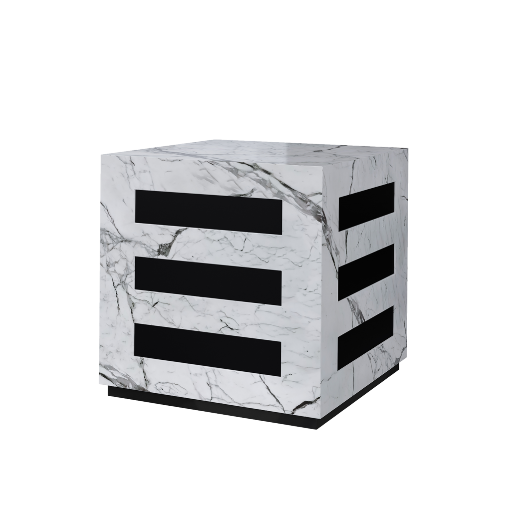 Black-and-White Side Table 3D Rendering