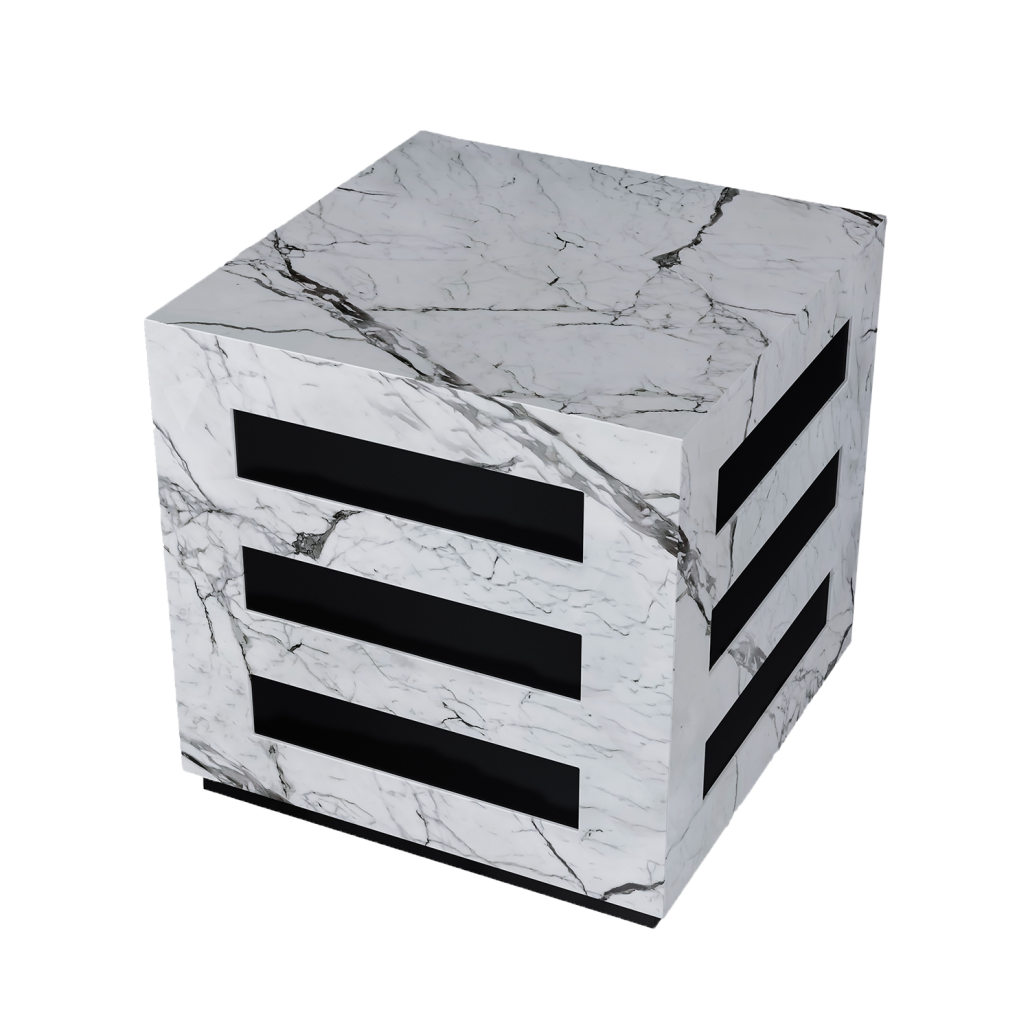 White Marble Side Table 3D Visualization