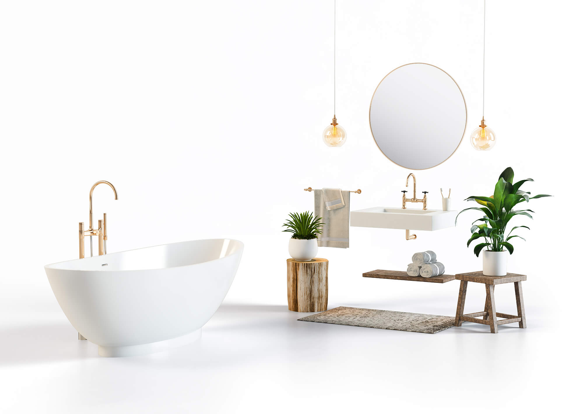 Product Rendering for a White and Gold Bathroom Set
