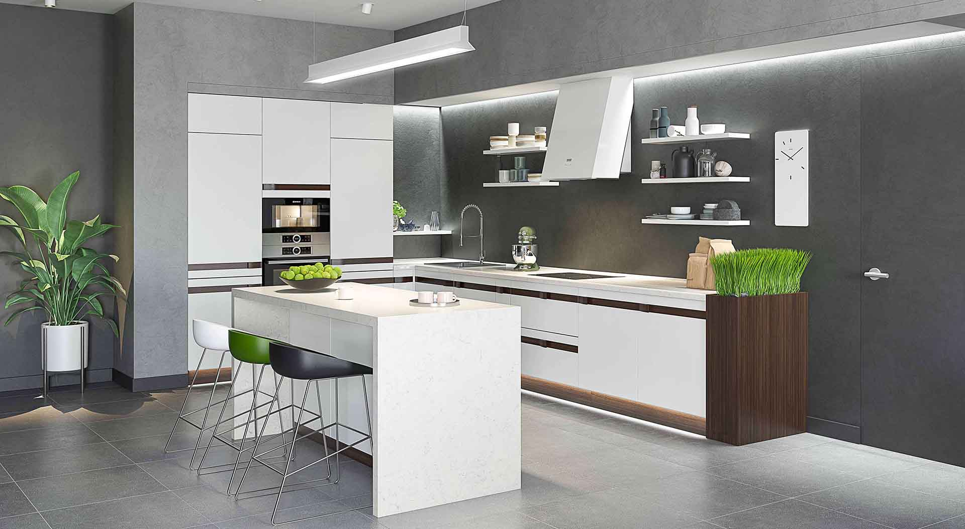 Product Rendering of a White Kitchen with Contrasting Elements
