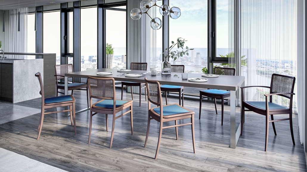 Wooden Chairs Rendering for a Kitchen Interior