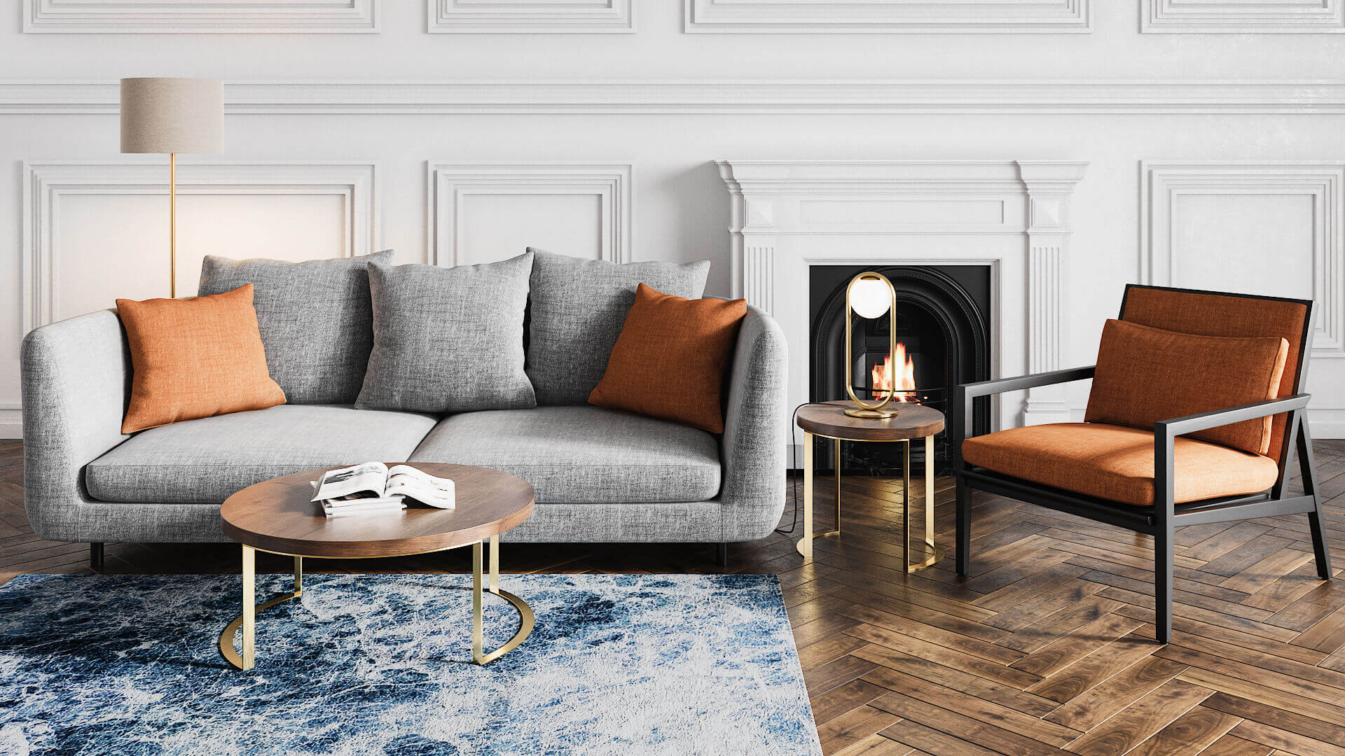 3D Rendering of a Grey Sofa