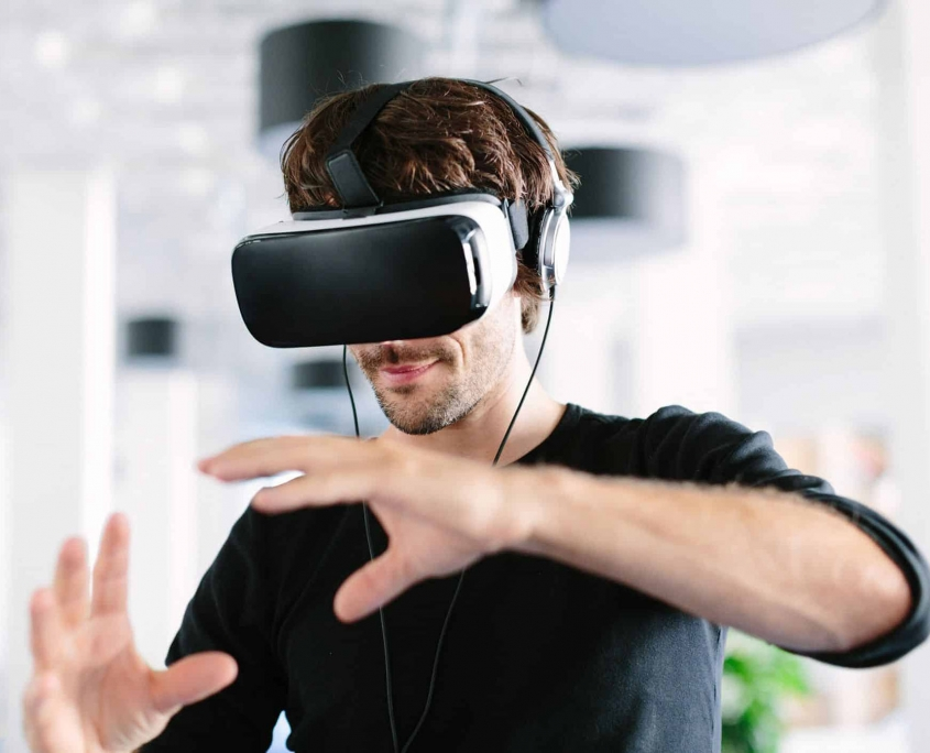 A Man Testing VR Shopping Technology