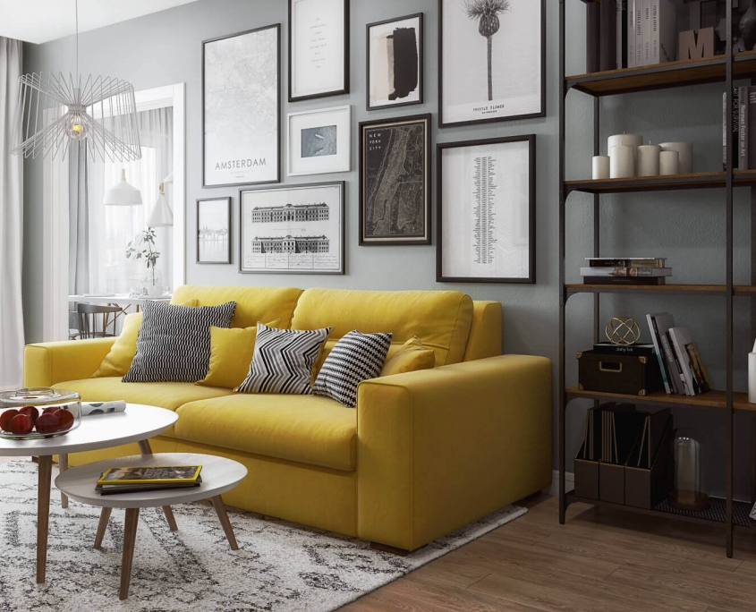 Furniture 3D Model of a Sofa and a Table