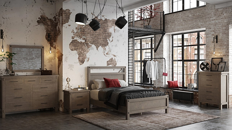 Lifestyle Furniture Render for a Loft Bedroom Set