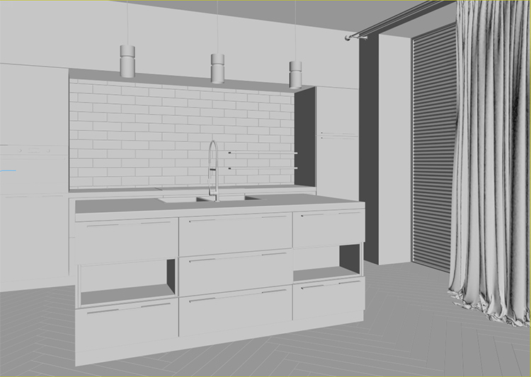 3D Product Modeling for of a Kitchen