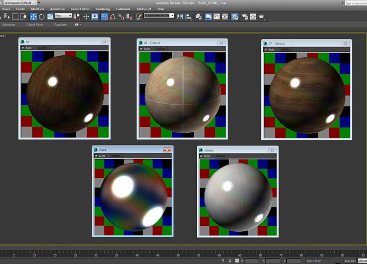 A VRay Shot of Choosing the Materials for a 3D Model