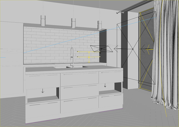 Tuning Lighting and Cameras for a Kitchen 3D Model
