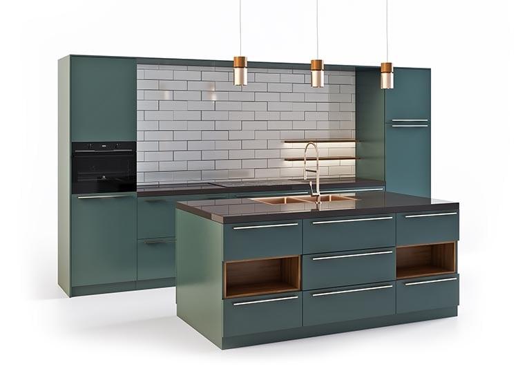 Kitchen 3D Modeling on a White Background