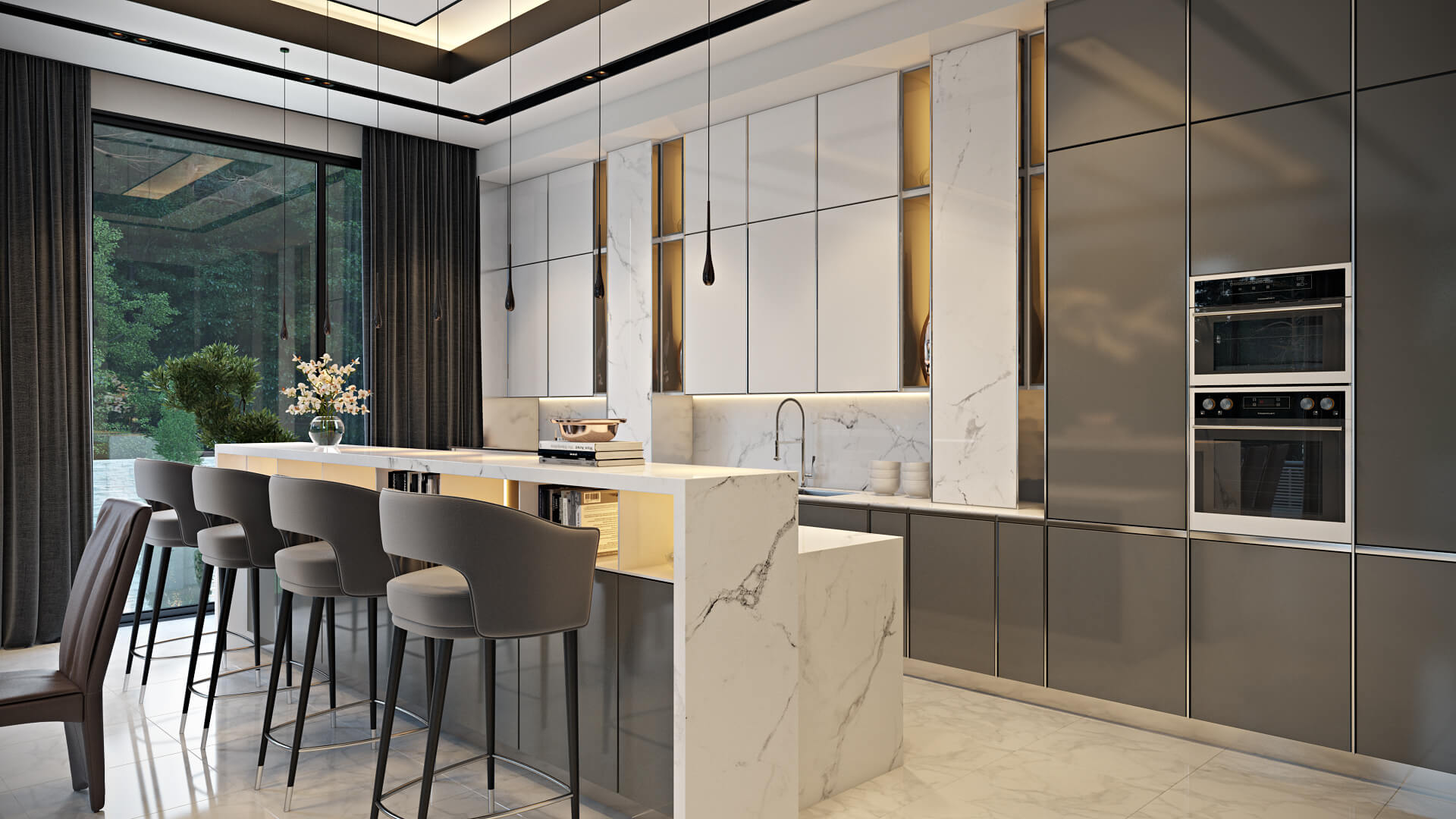 custom furniture rendering of a kitchen