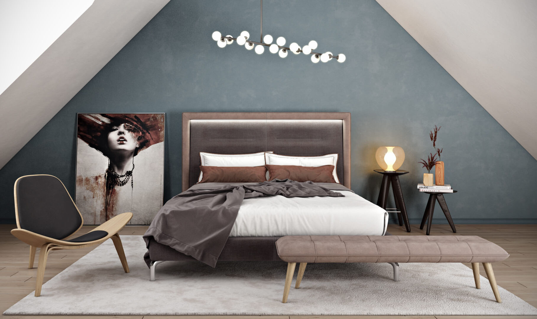 A Lifestyle 3D Rendering of a Bedroom
