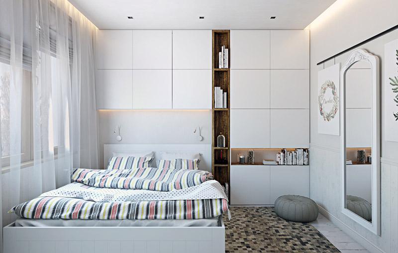 A CG Render of a Light Bedroom