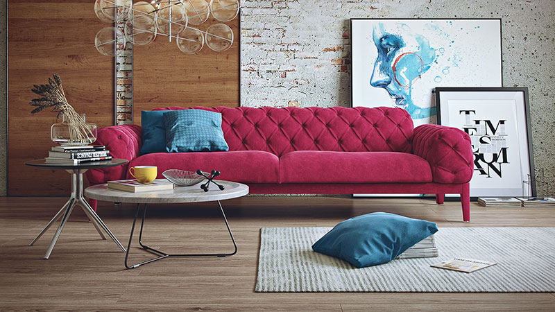 A Promo Shot of a Pink Velour Sofa