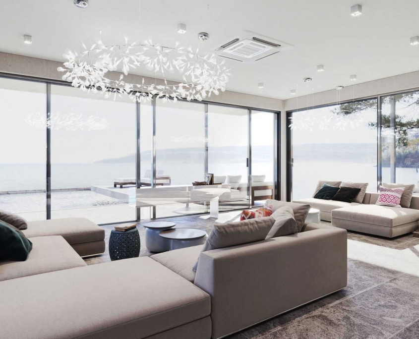 A Shot of Light Living Space with Beige Couches