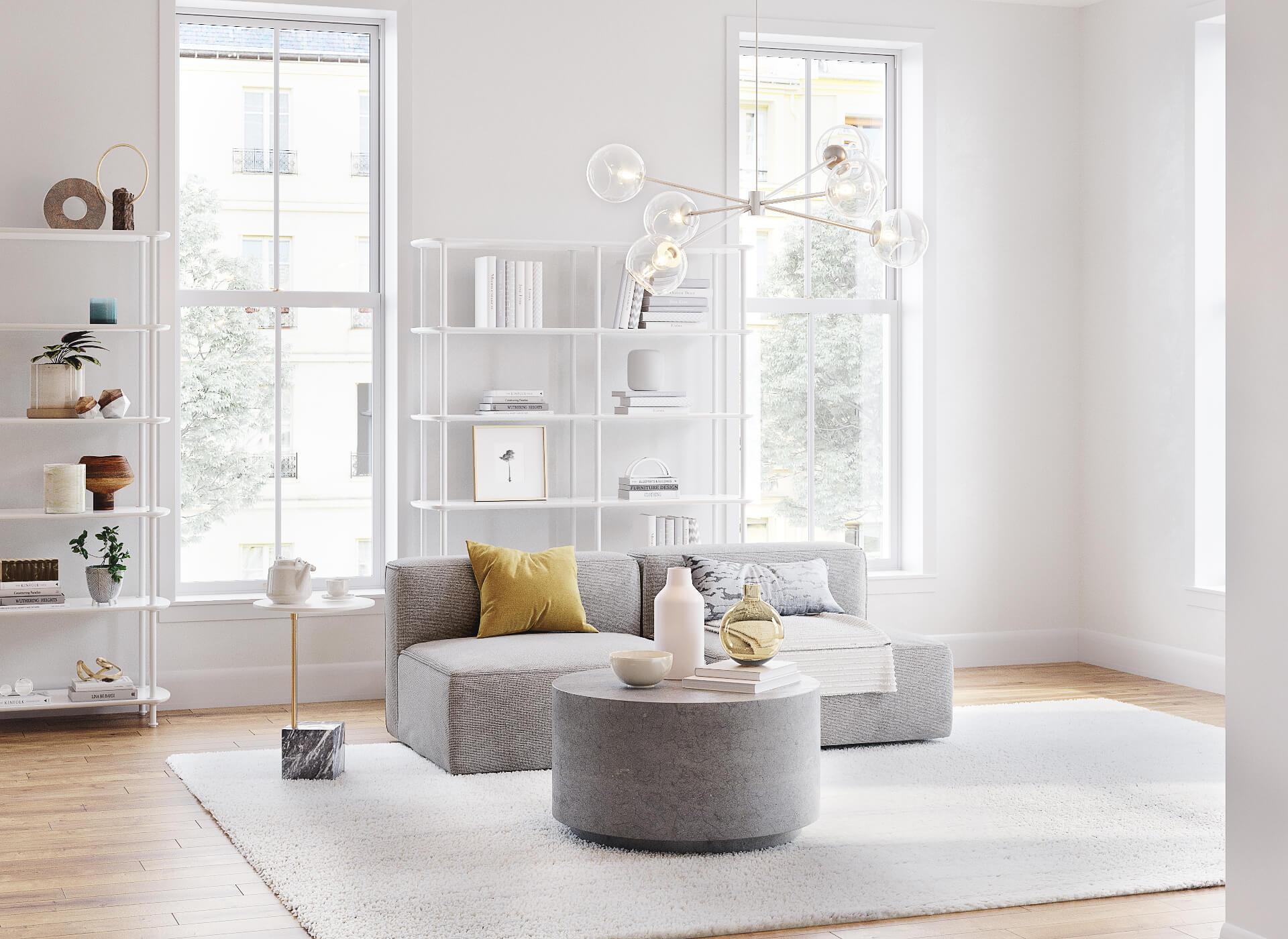 Living Room Furniture 3D Rendering