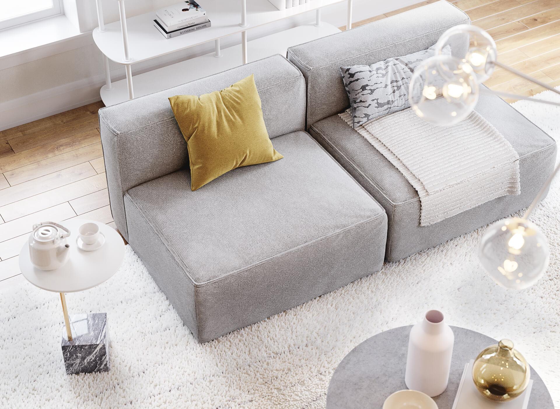 Sofa 3D Render in an Interior Scene